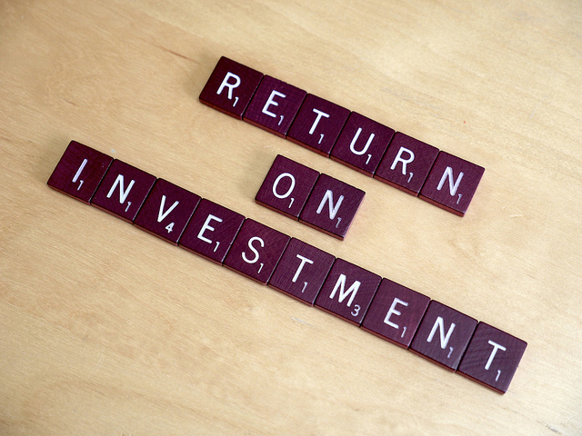 Scrabble letters spelling out RETURN ON INVESTMENT
