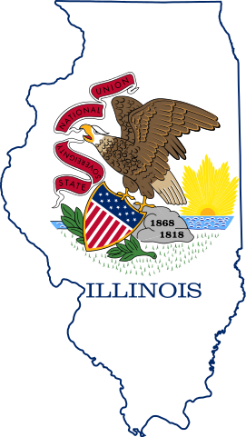Illinois map and flag